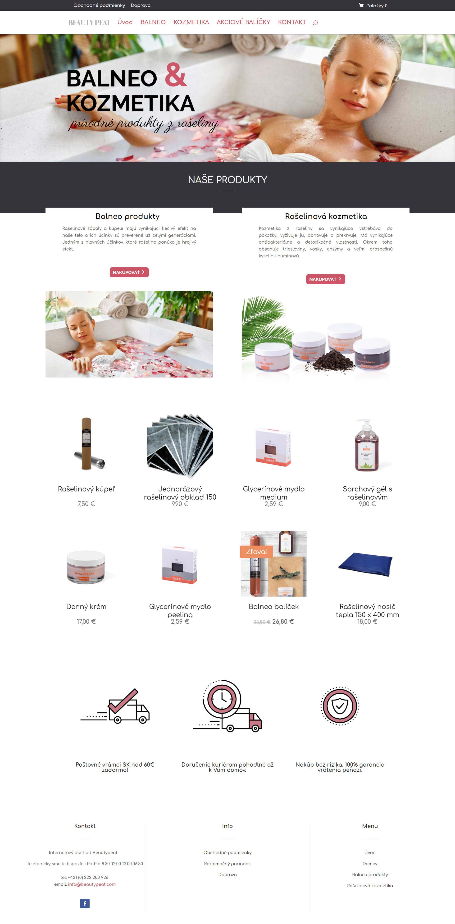 Vytvorenie E-shopu pre značku predávajúcu balneo kozmetiku