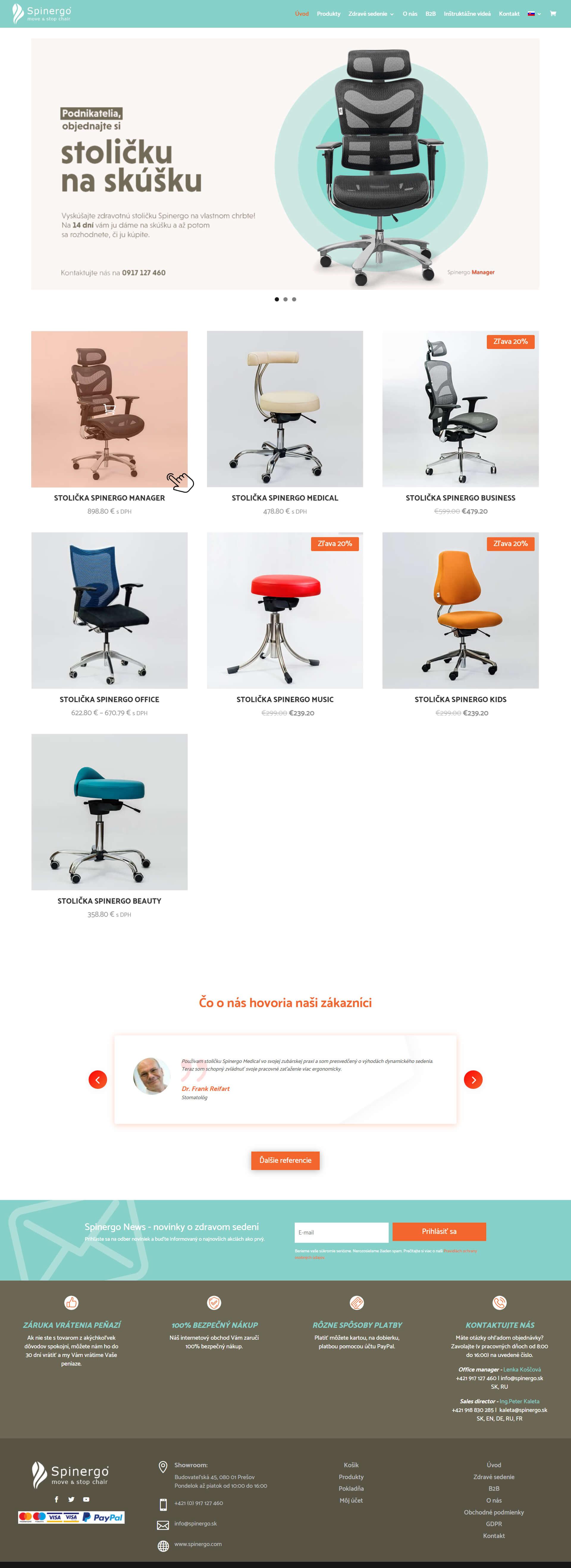 Tvorba E-shopu na mieru pre zdravotné ortopedické stoličky Spinergo