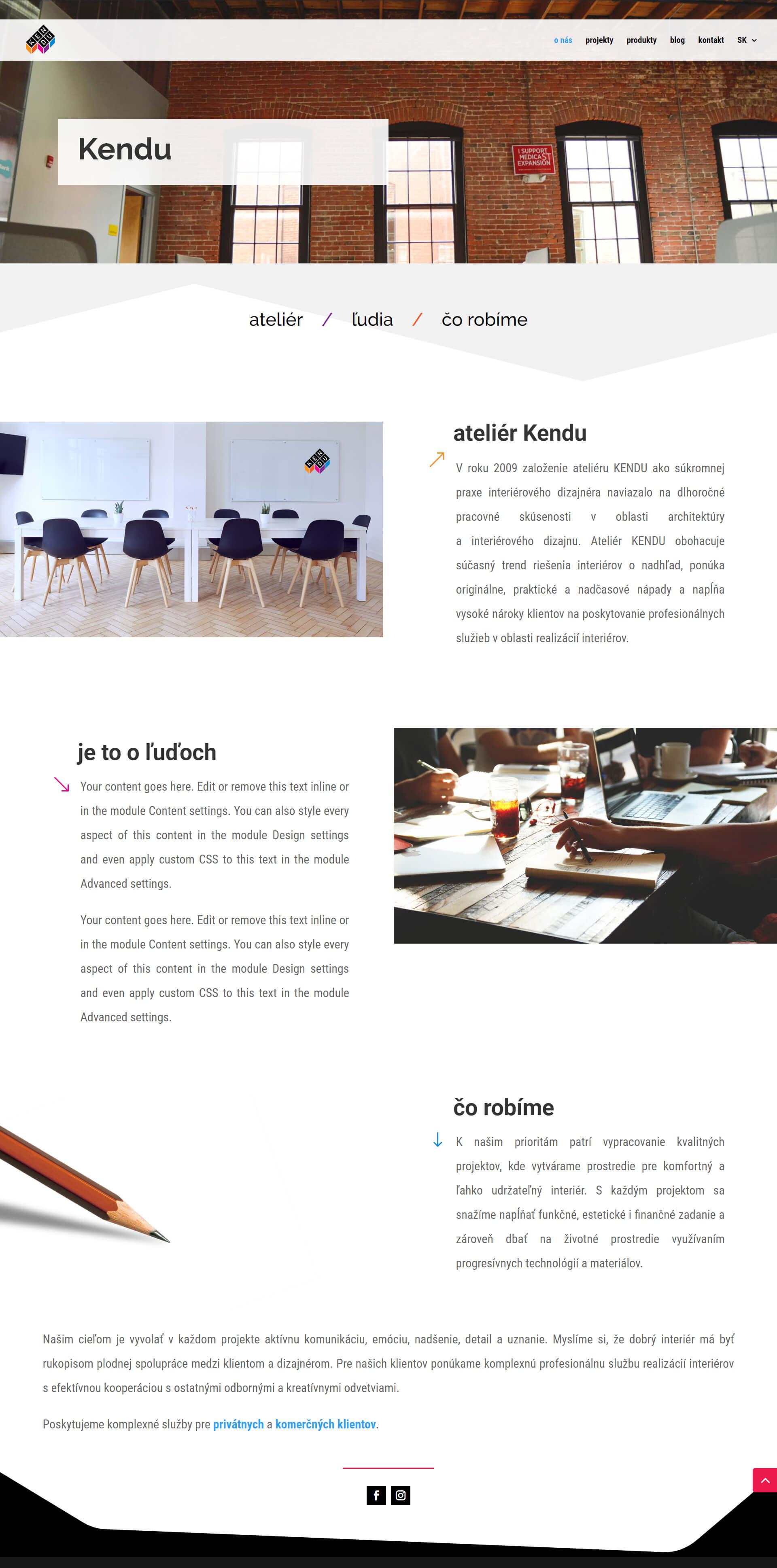 Vytvorenie a dizajn webu pre architektonické štúdio Kendu