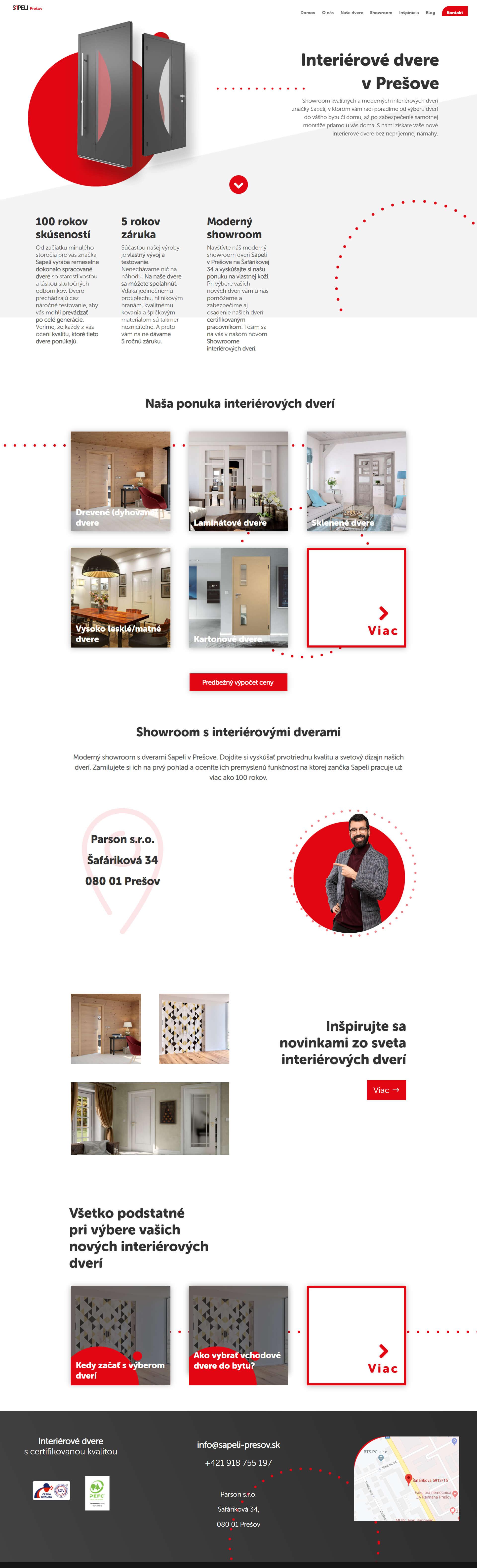 Tvorba webstránky a dizajn pre predajcu dverí Sapeli v Prešove