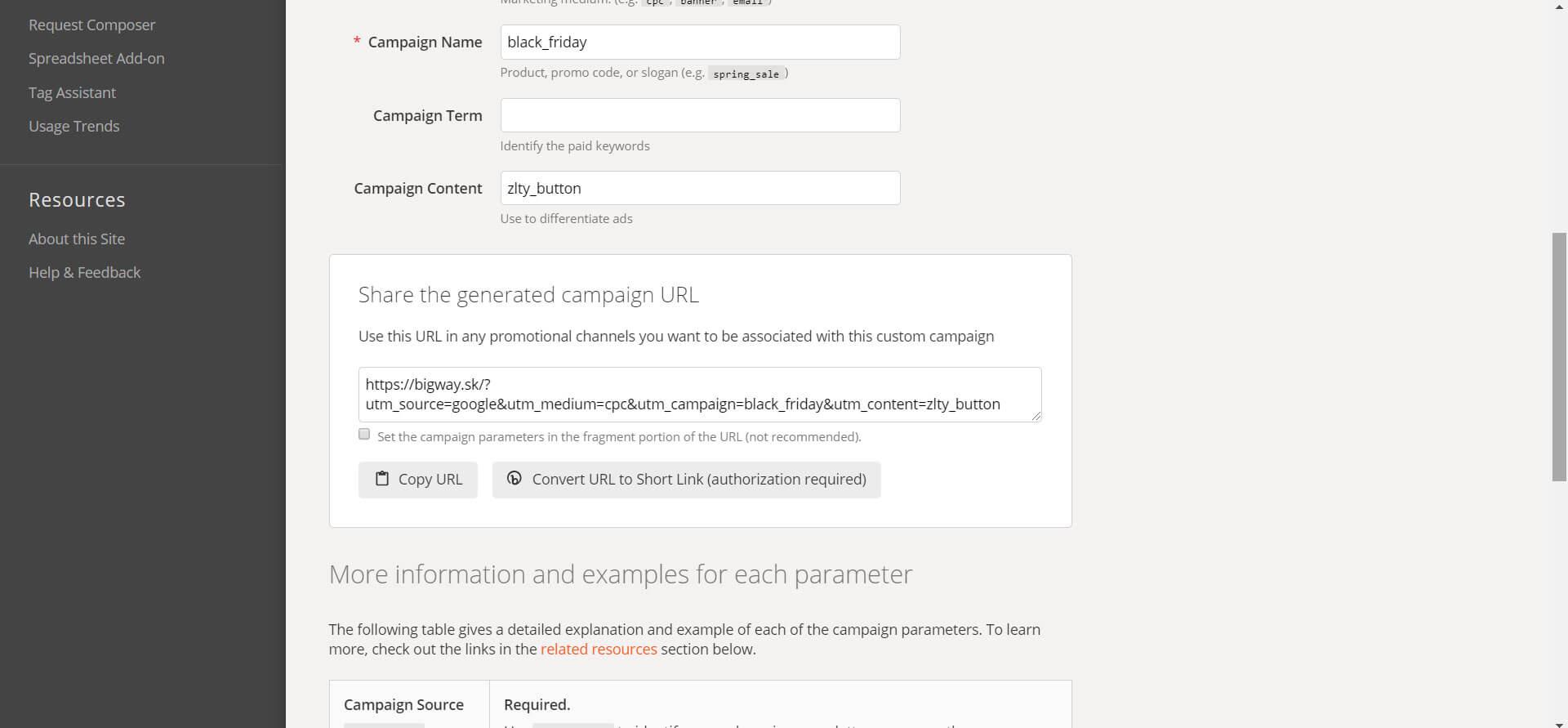 Generovanie URL adries s UTM tagmi