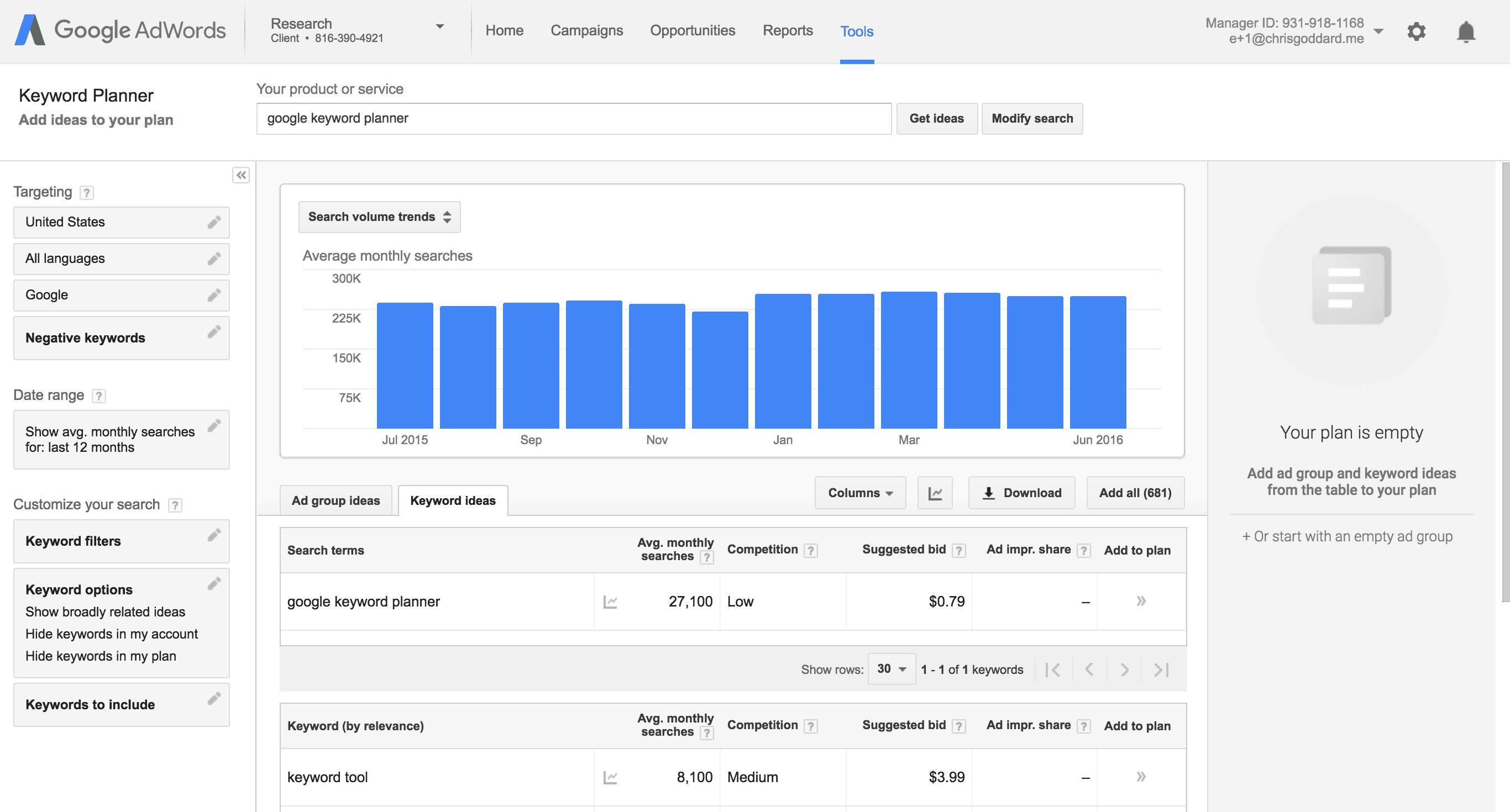 Marketingový nástroj Google Keywords Tool