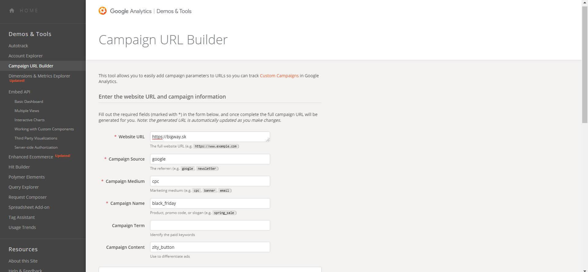 Builder pre generovanie UTM tagov