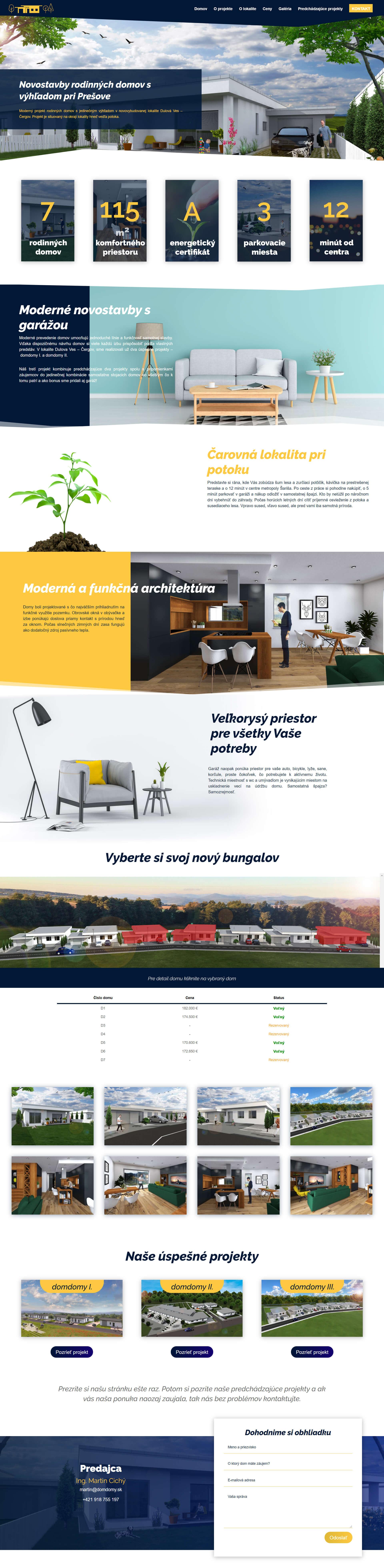 Vytvorenie webstránky pre developérov novostavby domov v Prešove
