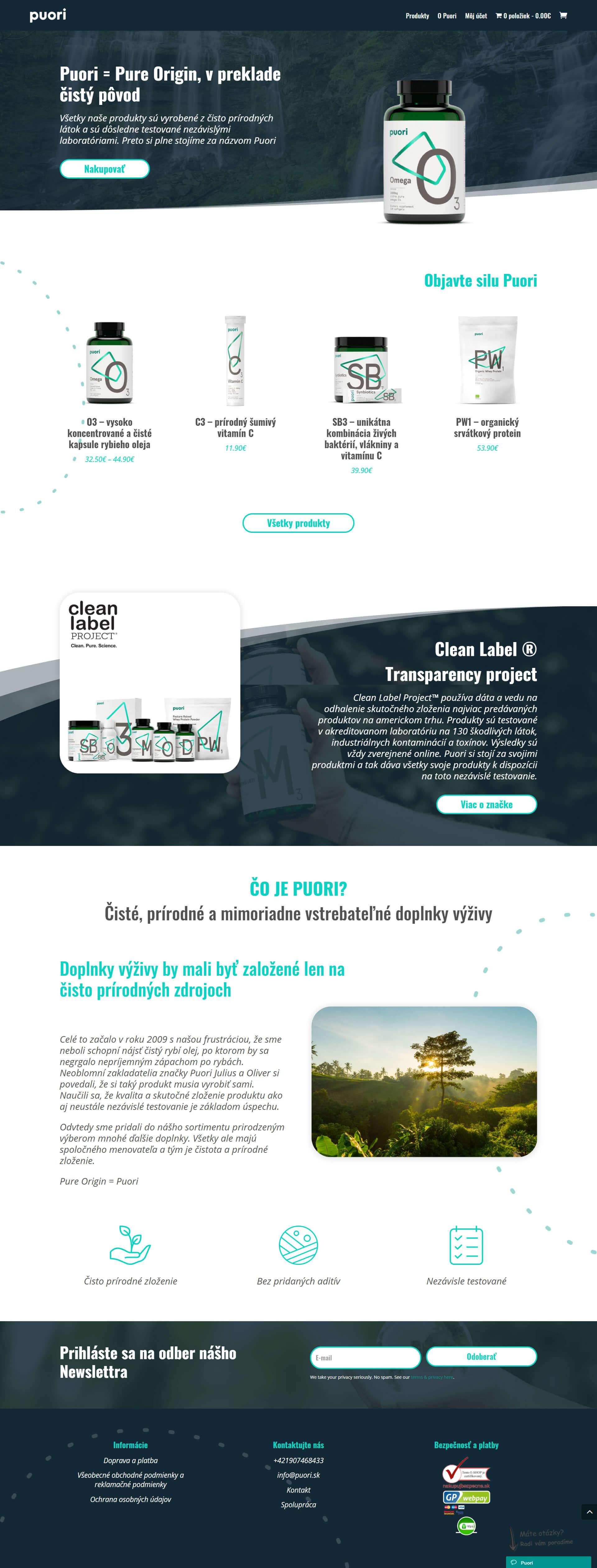 Dizajn e-shopu na predaj doplnkov stravy Puori