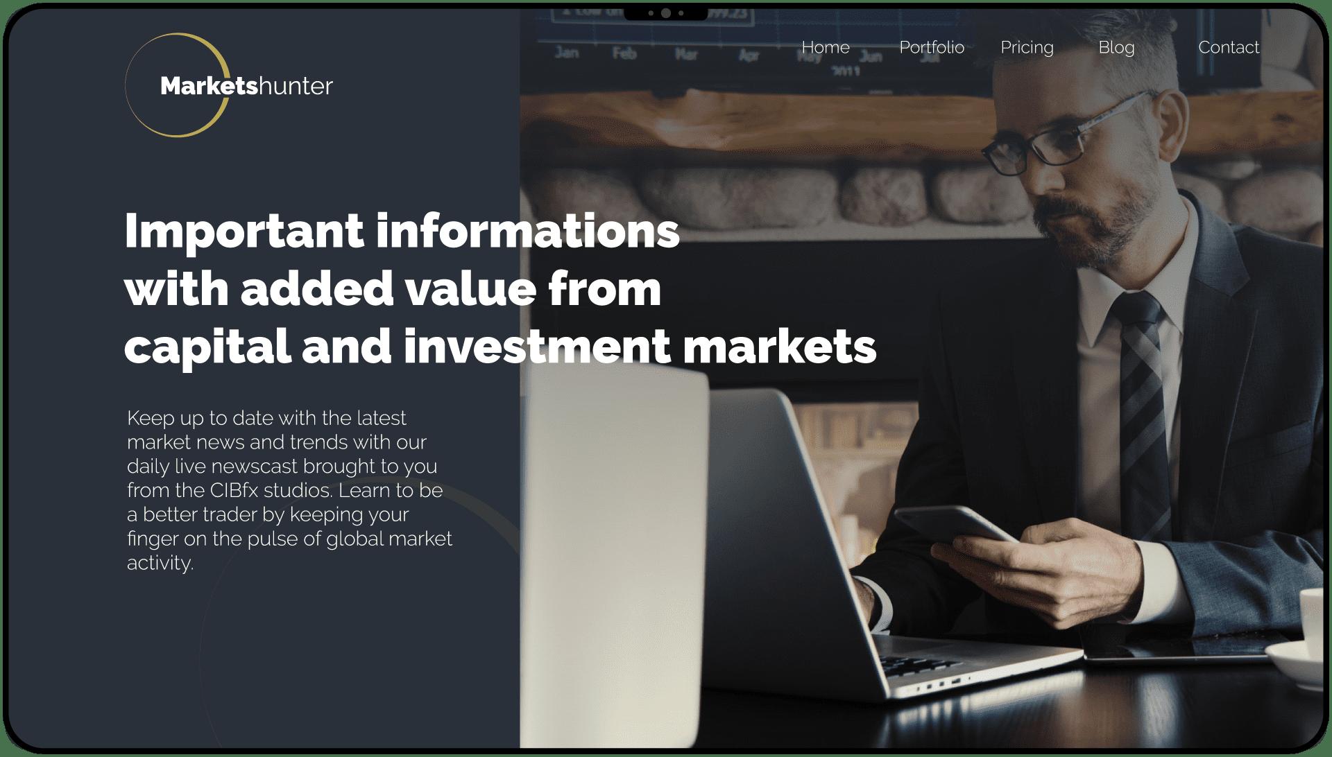 Návrh dizajnu webu pre značku marketshunter