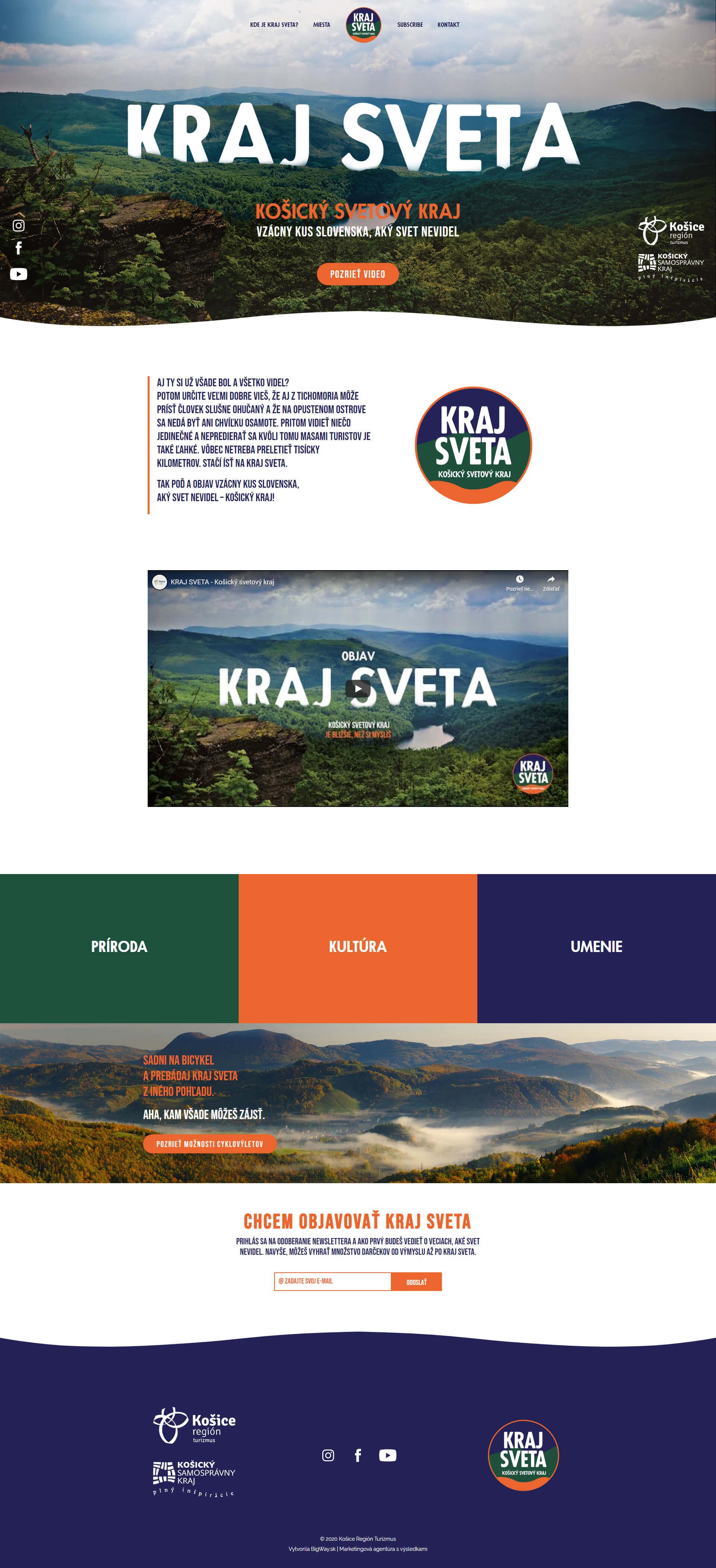 Vytvorenie webstránky pre marketingovú kampaň Kraj sveta
