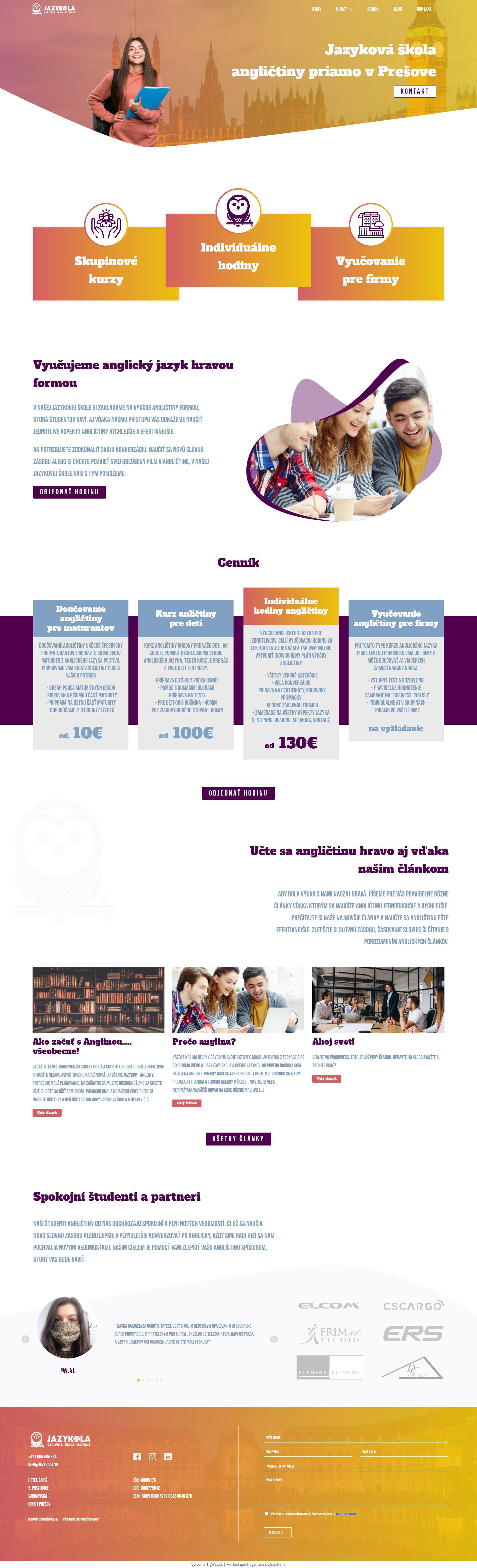 Tvorba webstránky pre jazykovú školu angličtiny