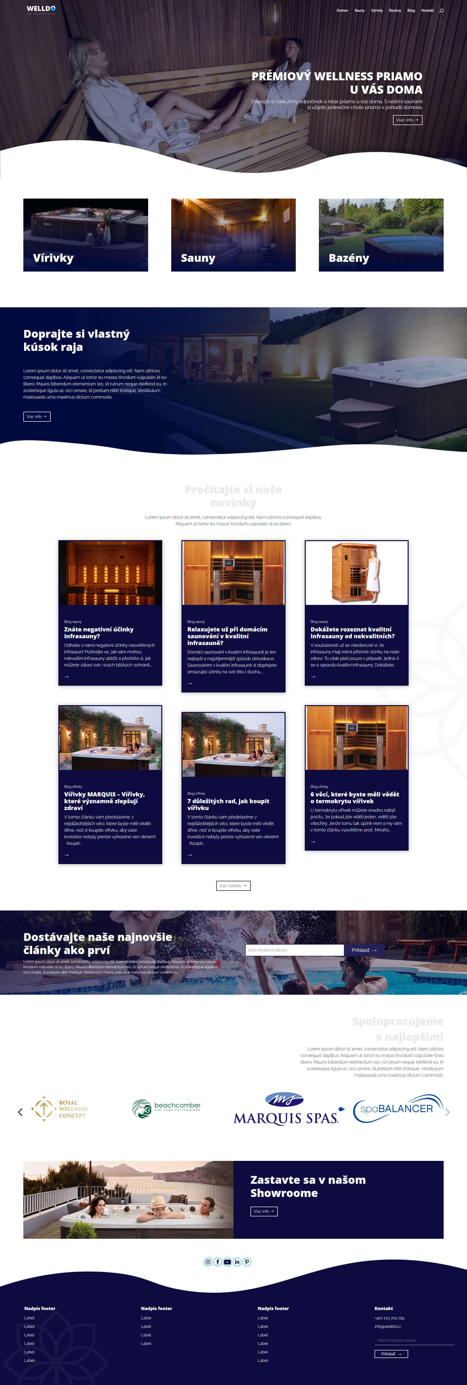 Tvorba webstránky pre wellness produkty - sauny, bazény, vírivky