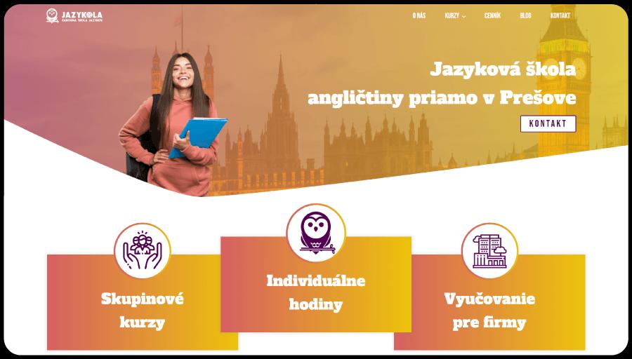 Tvorba webstránky pre jazykovú školu angličtiny Jazykola