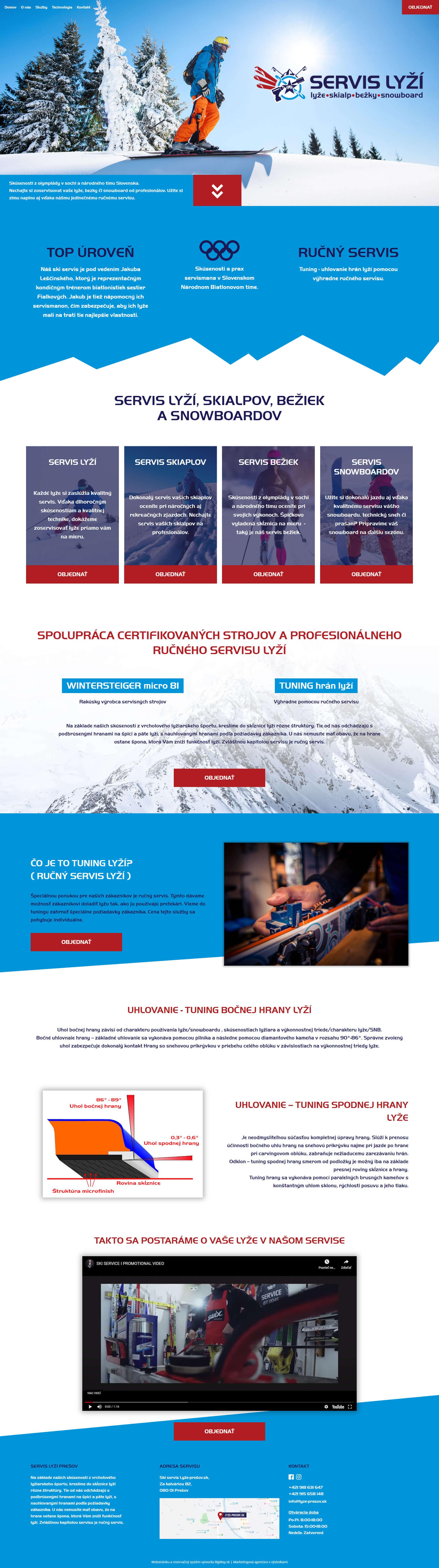 Vytvorenie webstránky pre servis lyží s rezervačným systémom