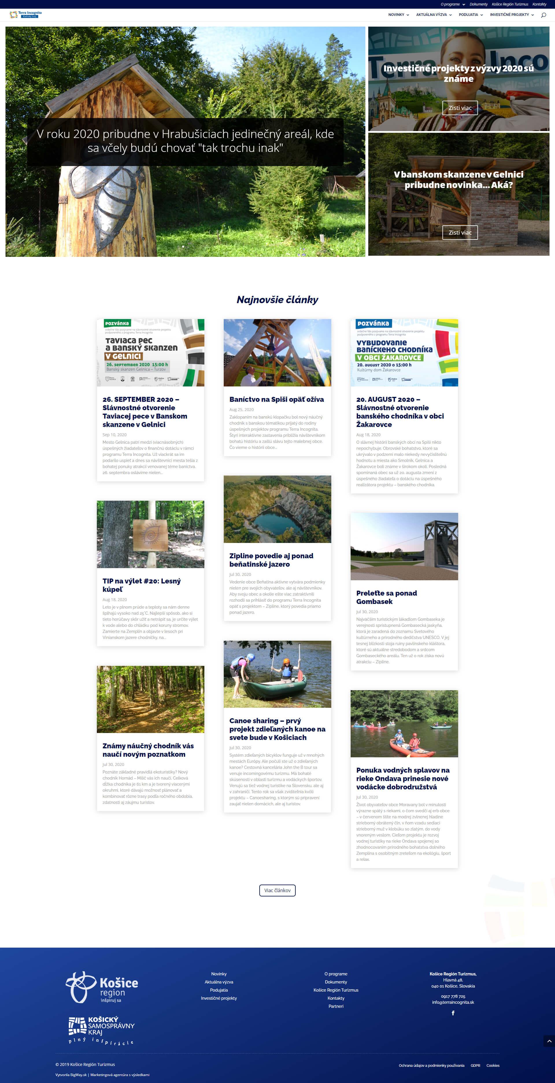Tvorba webstránky a turistického portálu Terra Incognita