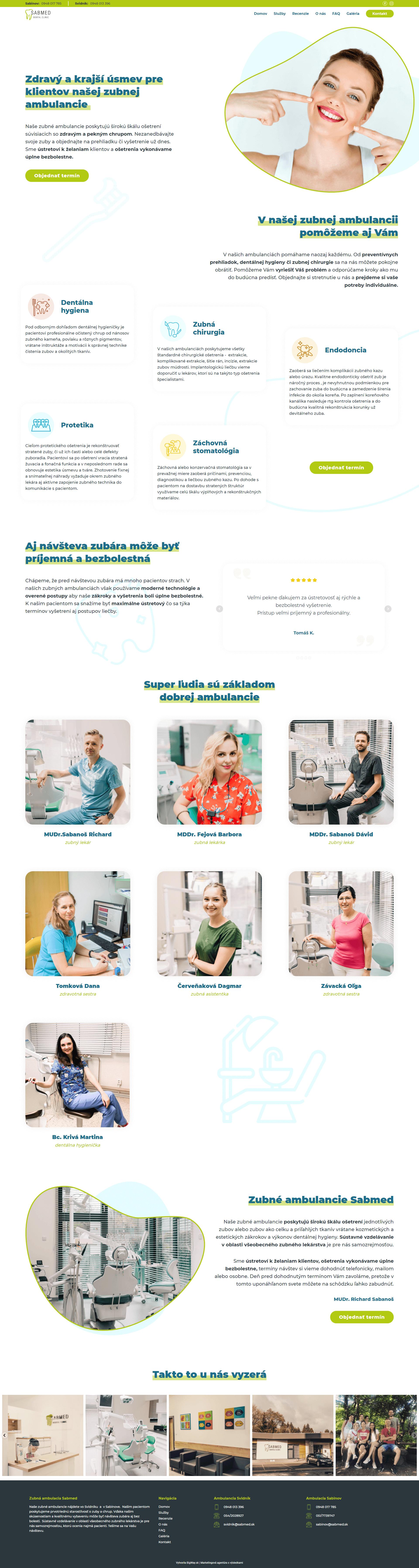 Tvorba webstránky pre zubnú ambulanciu Sabmed
