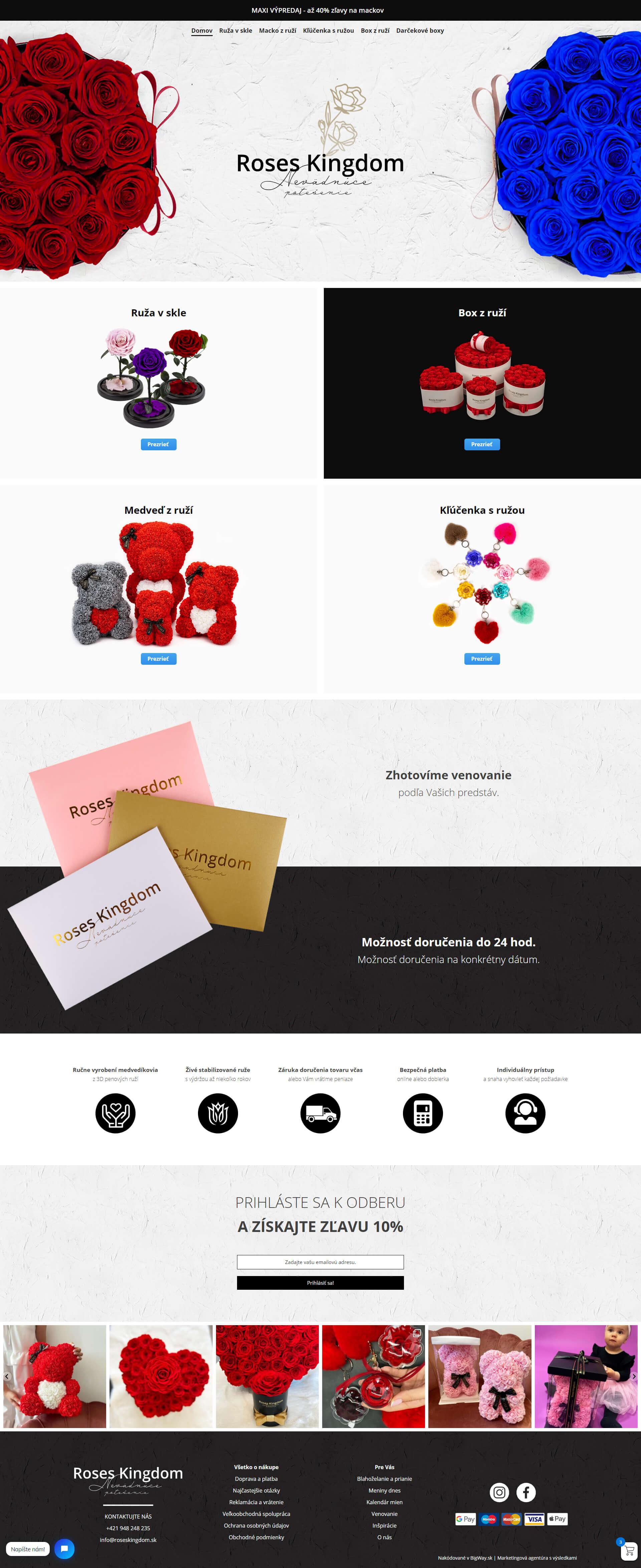 Tvorba E-shopu na mieru pre produkty z ruží