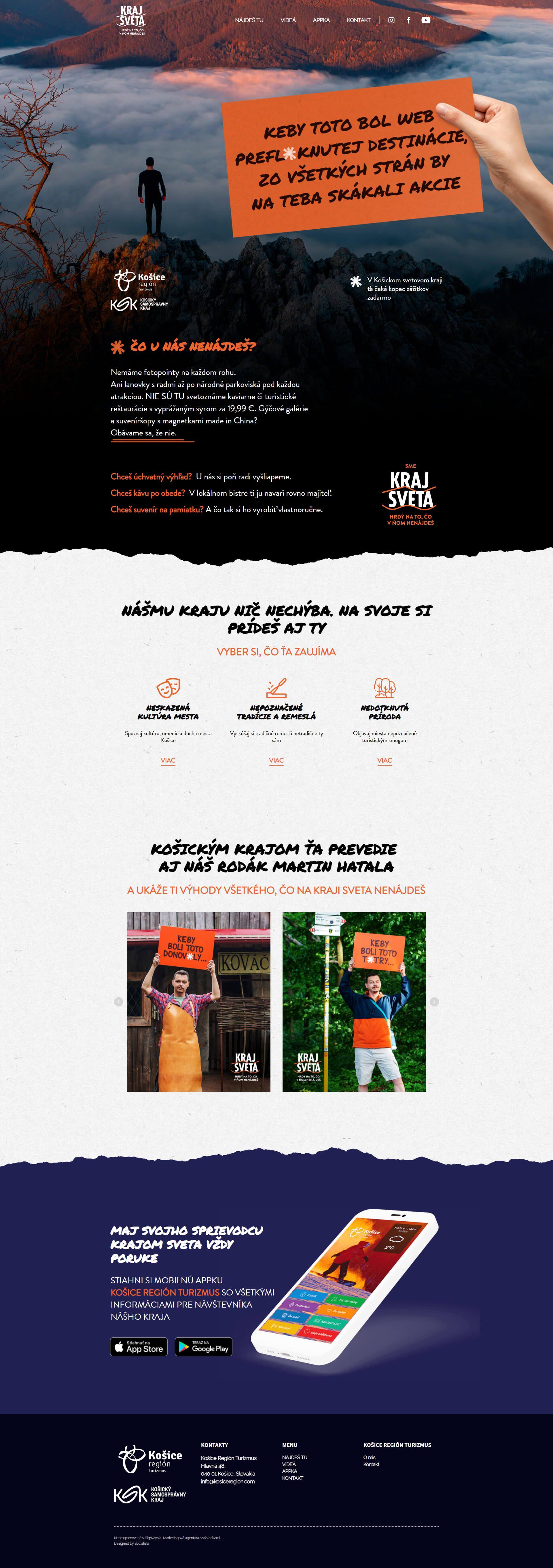 Tvorba webu pre destinačnú kampaň Kraj sveta